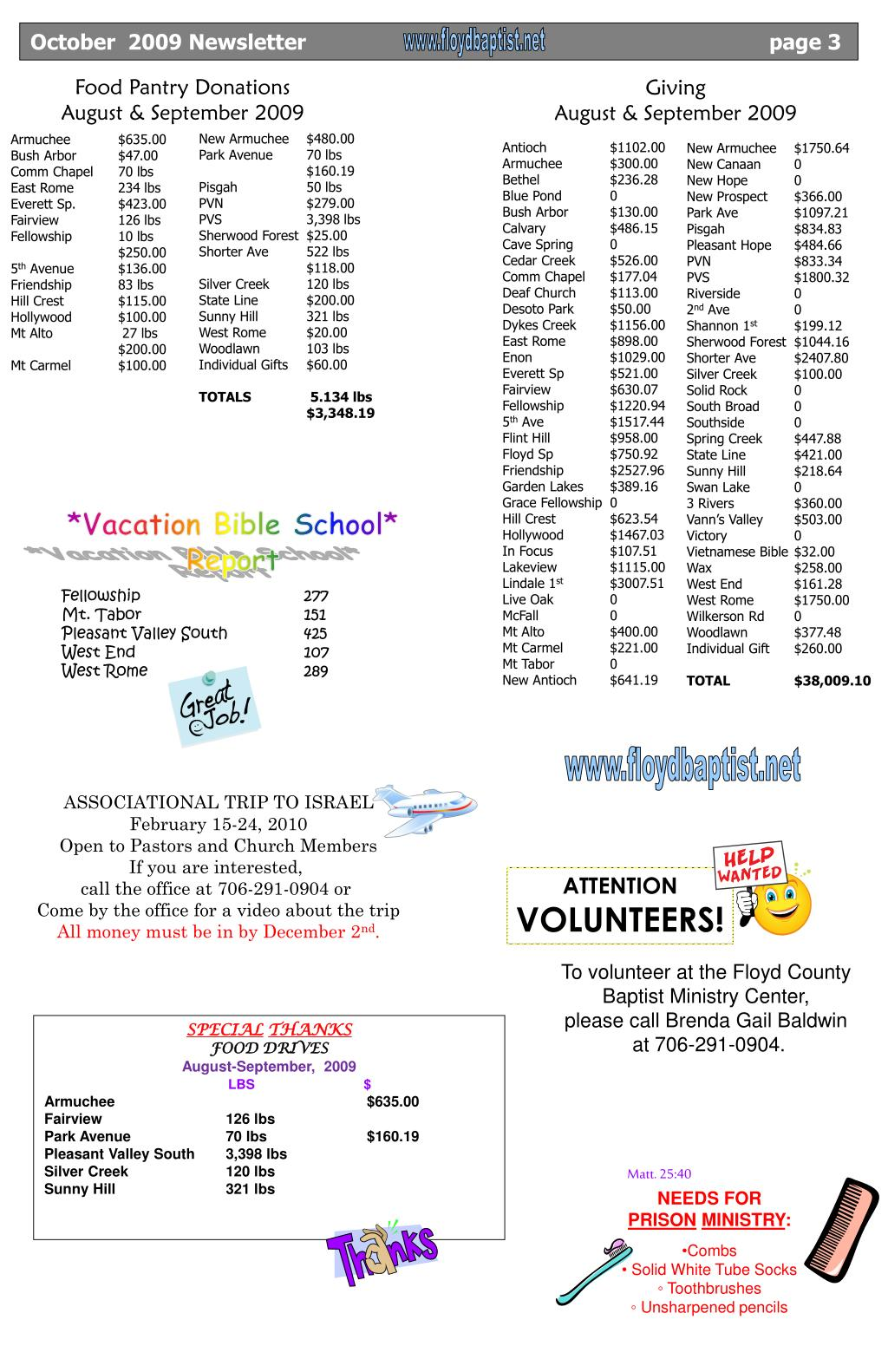October  2009 Newsletter	                                                                  page 3