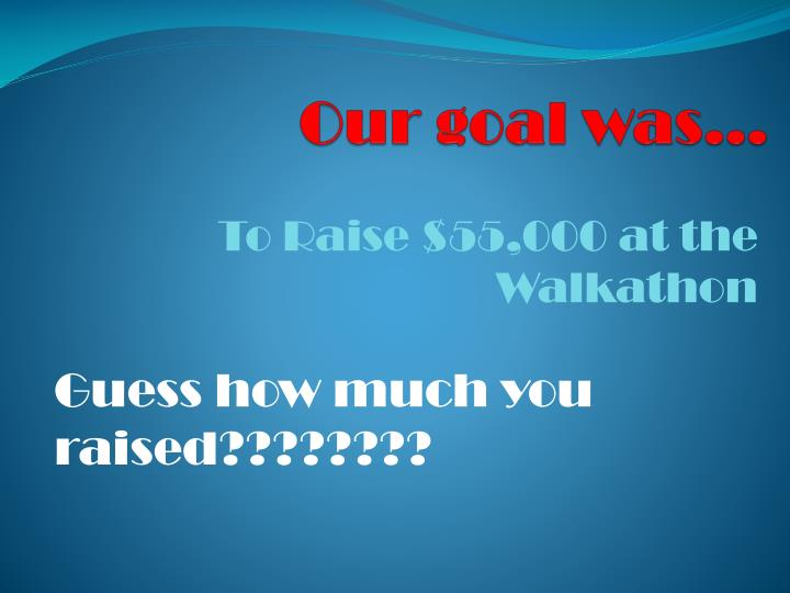 Our goal was…