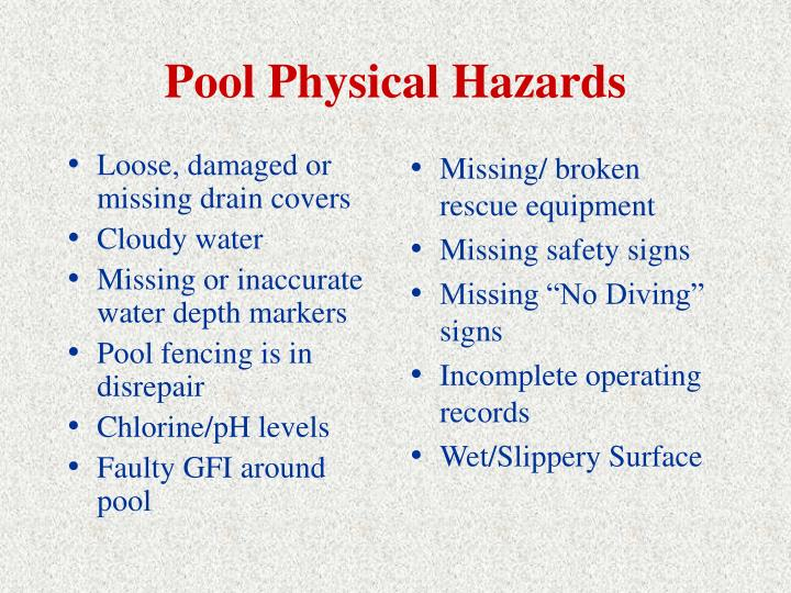 Loose, damaged or missing drain covers