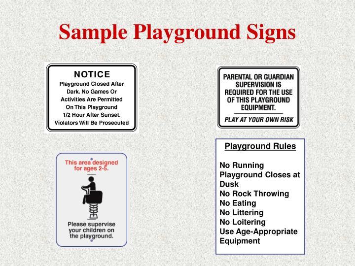 Sample Playground Signs