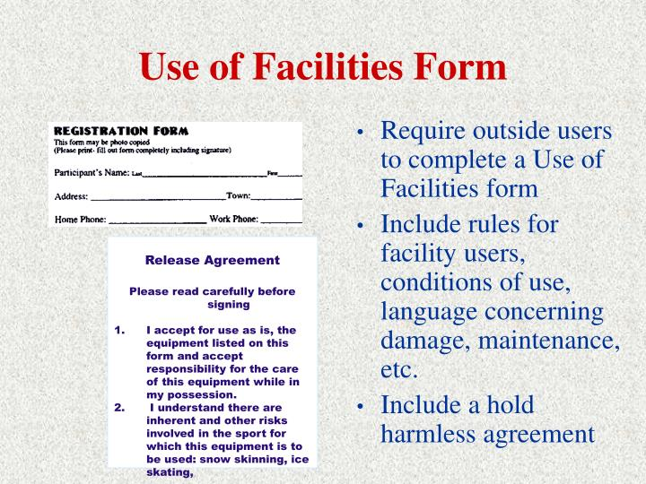 Use of Facilities Form