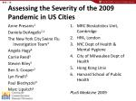 assessing the severity of the 2009 pandemic in us cities