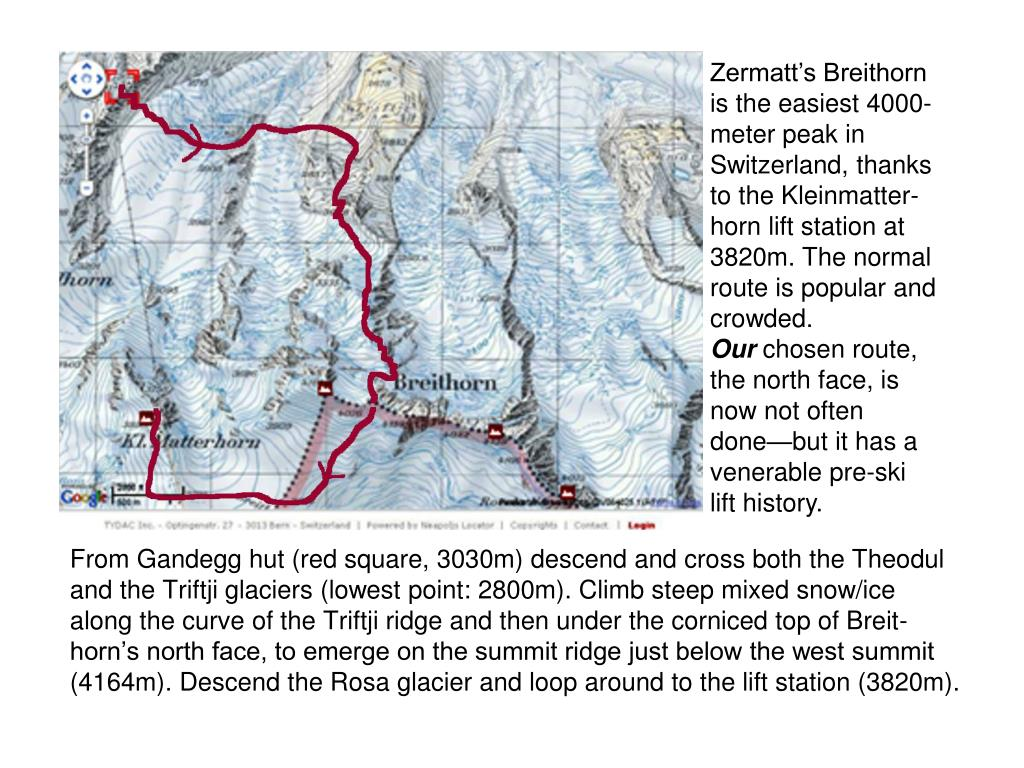 Zermatt's Breithorn is the easiest 4000-meter peak in Switzerland, thanks to the Kleinmatter-horn lift station at 3820m. The normal route is popular and crowded.