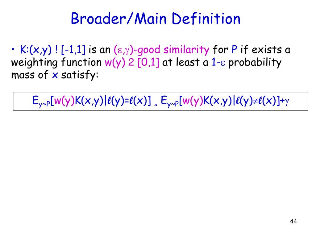 Broader/Main Definition