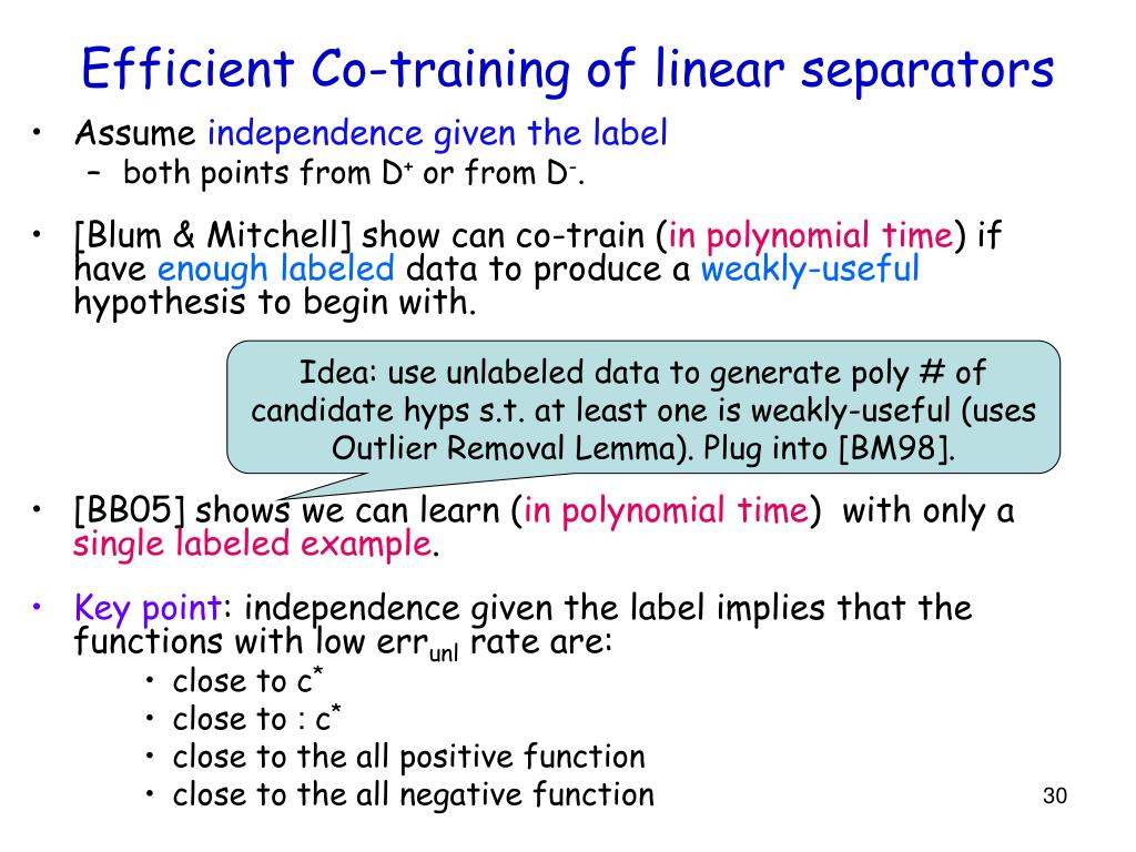 Efficient Co-training of linear separators