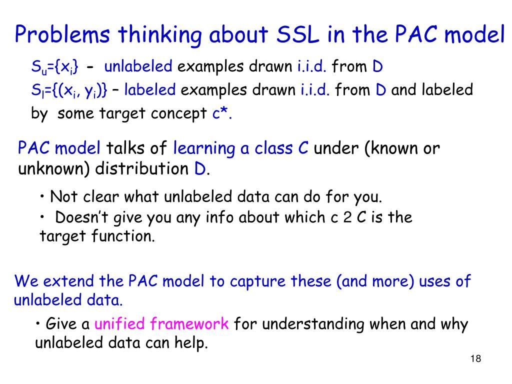 Problems thinking about SSL in the PAC model