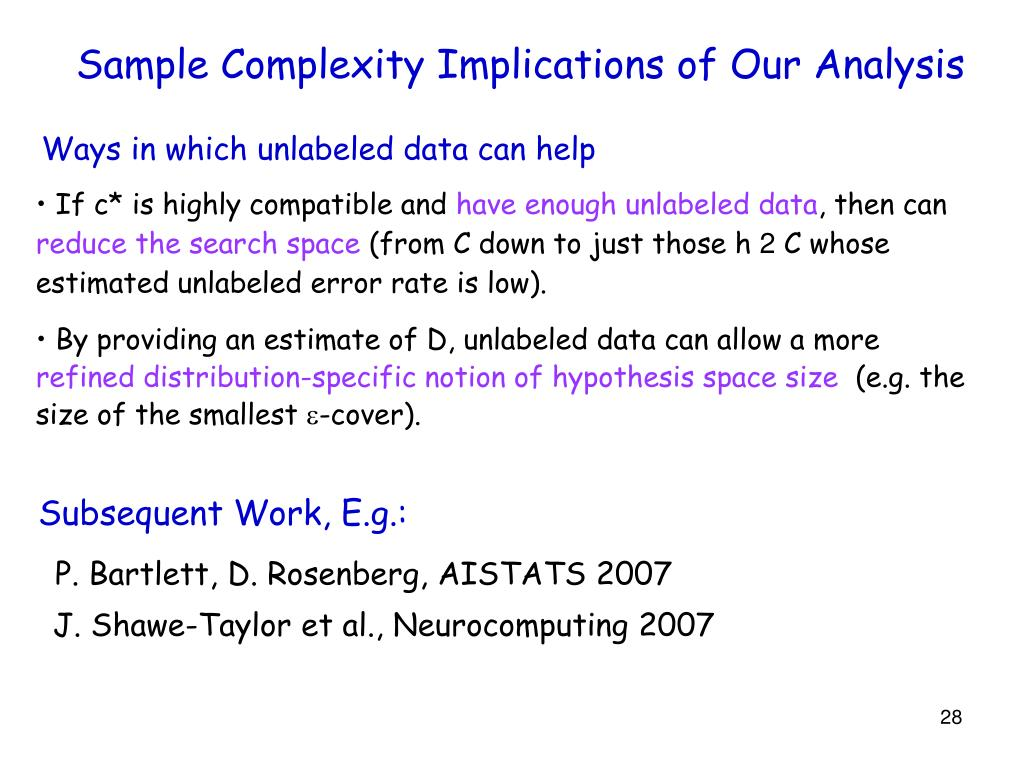 Sample Complexity Implications of Our Analysis