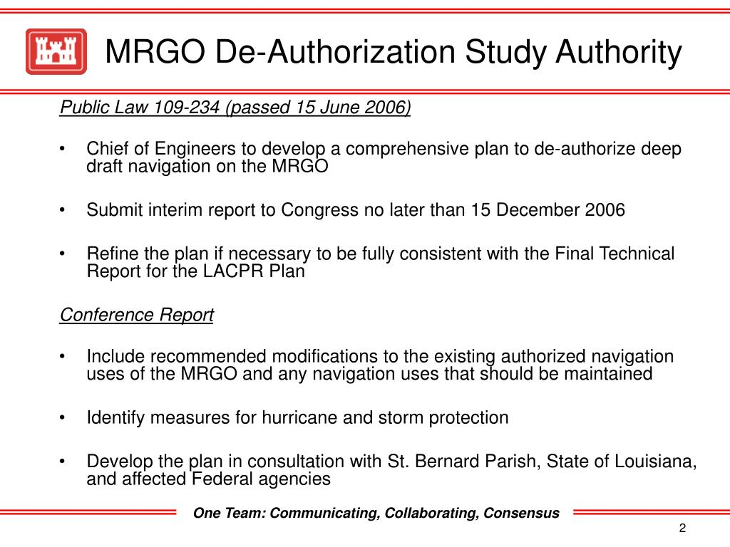 MRGO De-Authorization Study Authority