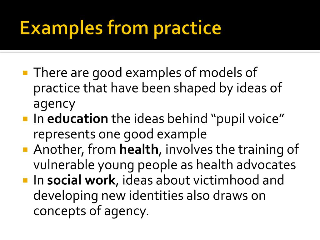 Examples from practice