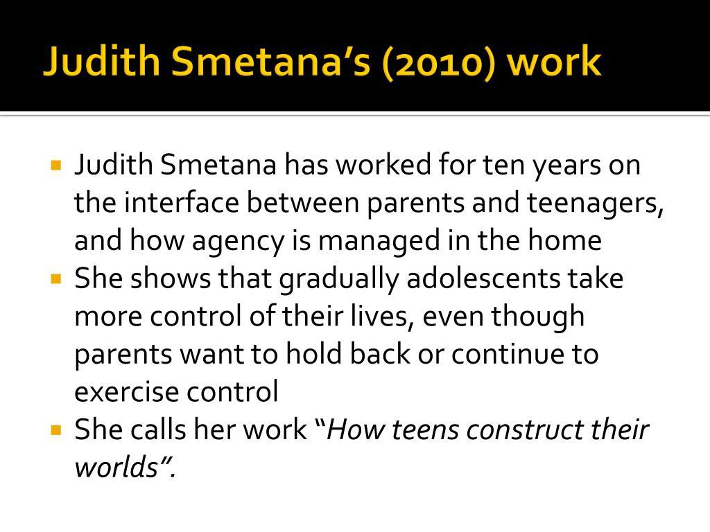 Judith Smetana's (2010) work