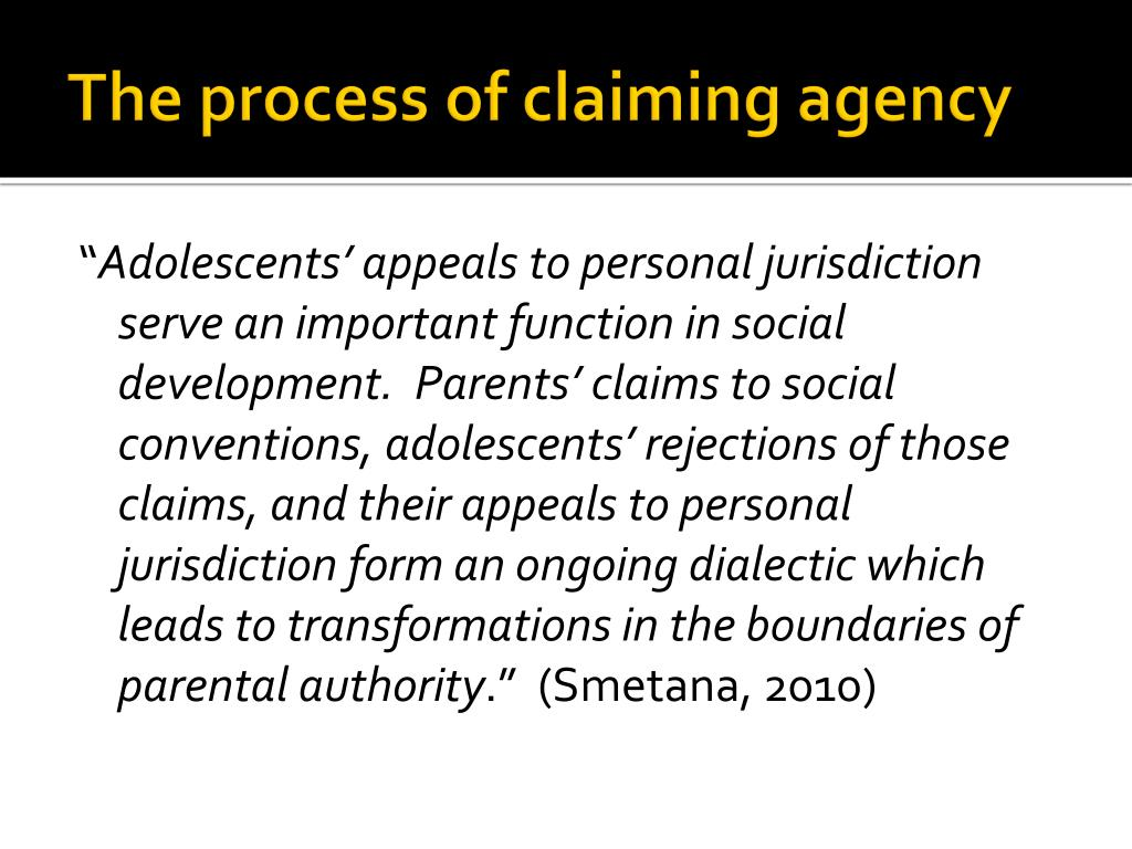 The process of claiming agency