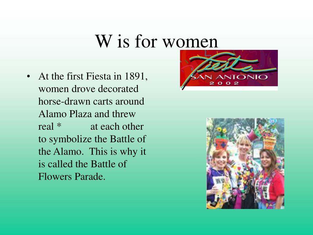 W is for women