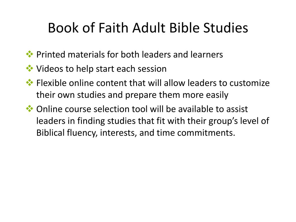 Book of Faith Adult Bible Studies
