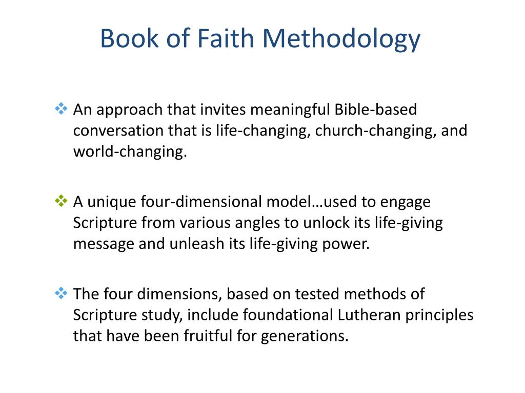 Book of Faith Methodology