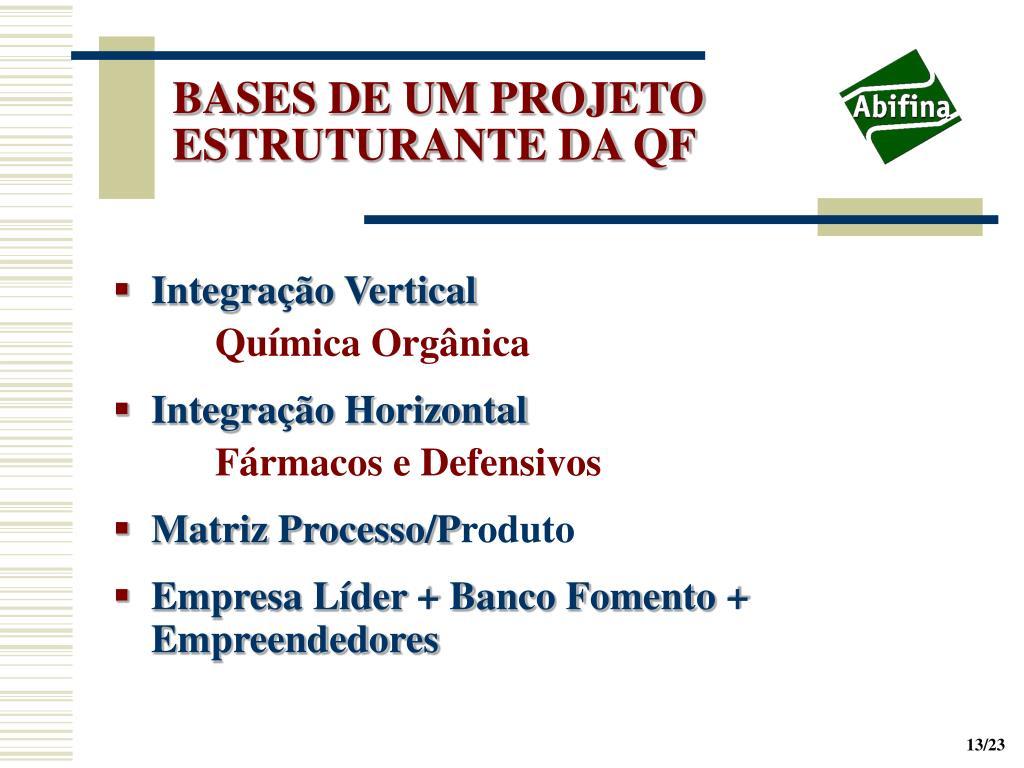BASES DE UM PROJETO ESTRUTURANTE DA QF