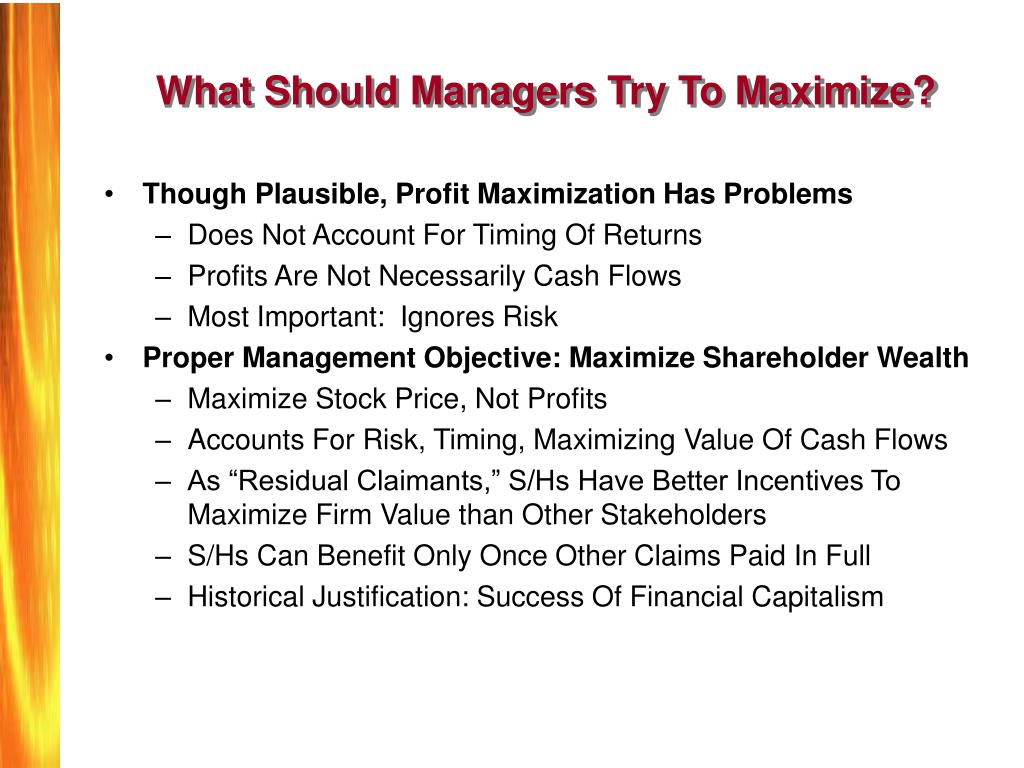 prime objective of a company shareholders wealth maximization