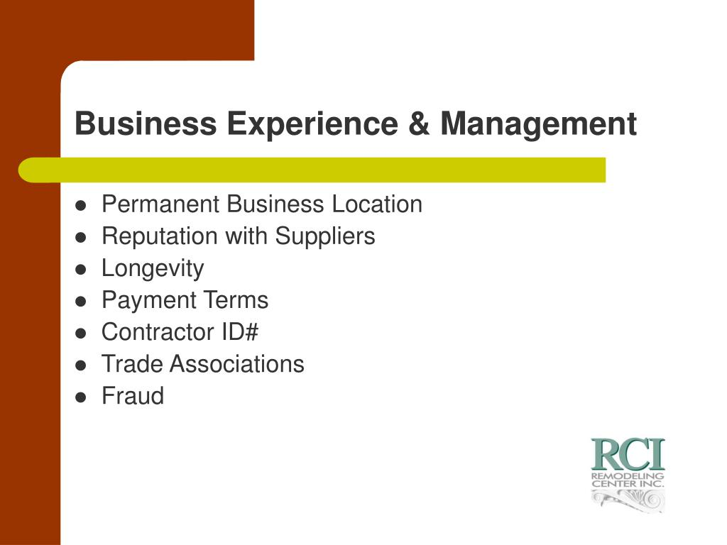 Business Experience & Management