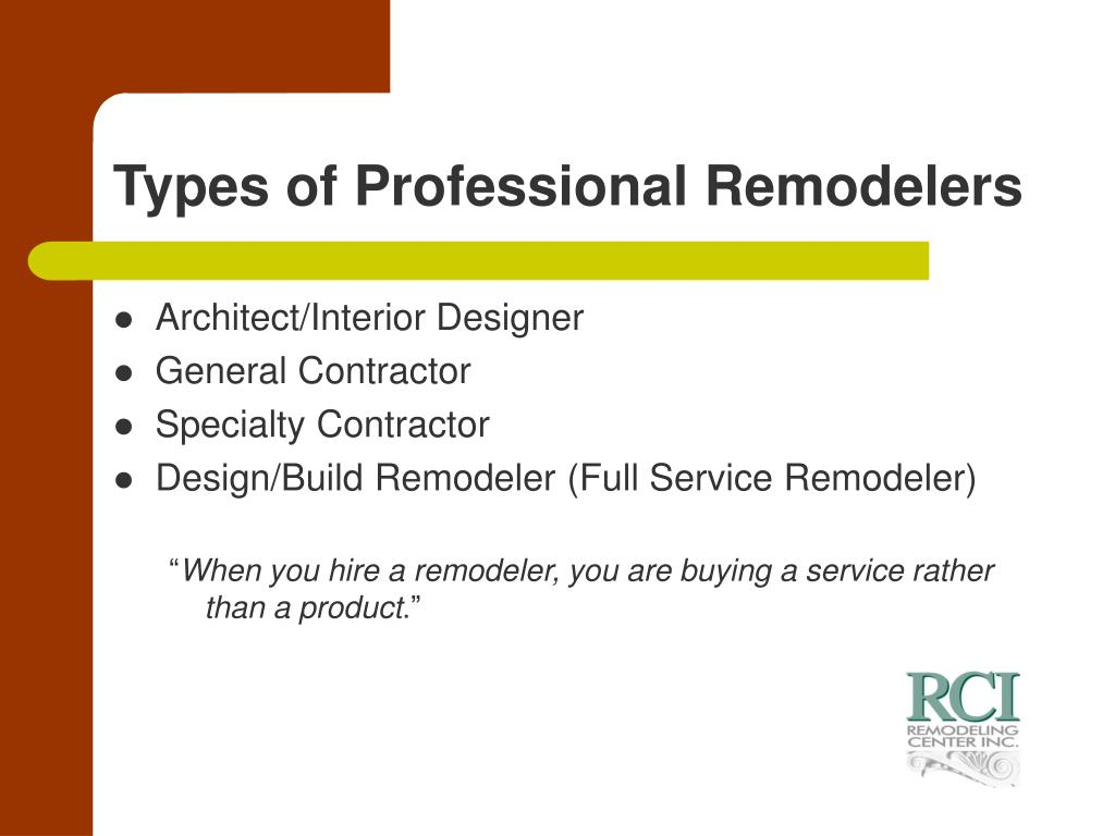 Types of Professional Remodelers