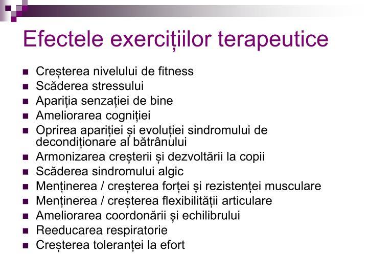 Efectele exercițiilor terapeutice