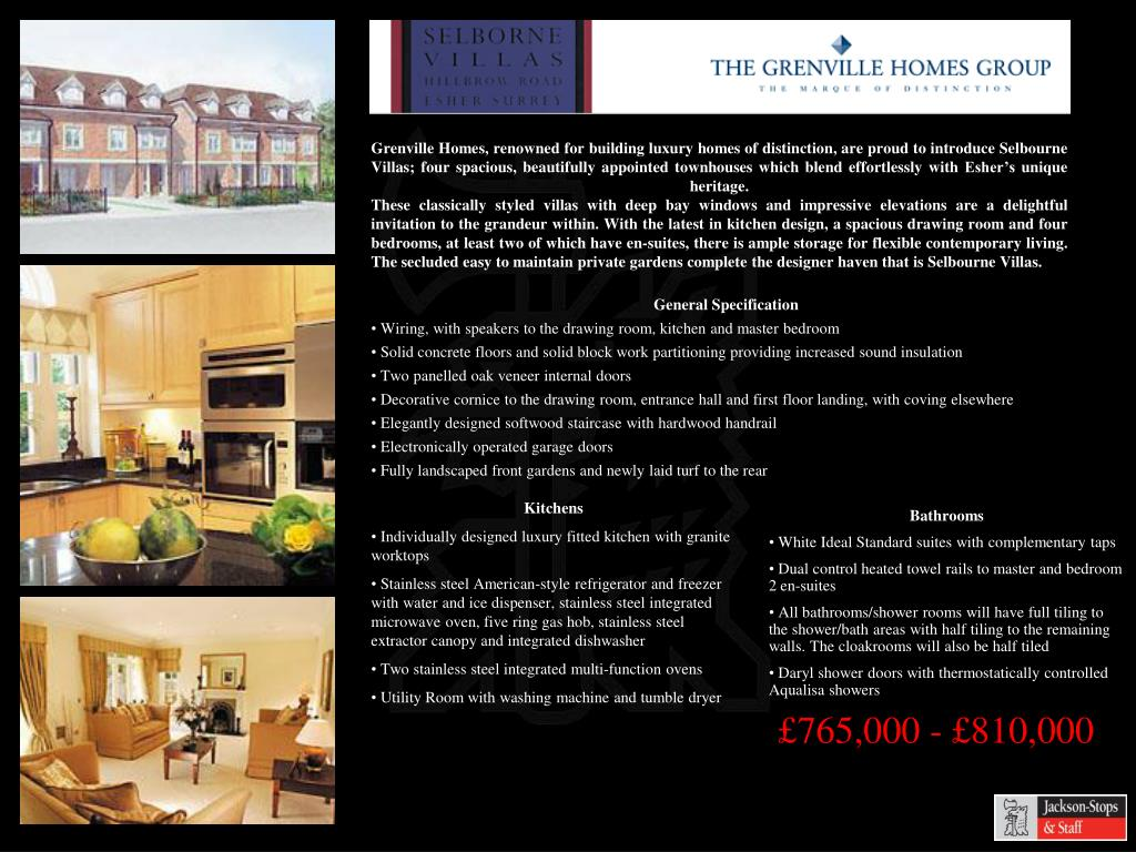 Grenville Homes, renowned for building luxury homes of distinction, are proud to introduce Selbourne Villas; four spacious, beautifully appointed townhouses which blend effortlessly with Esher's unique heritage.