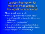logistic regression for matched pairs option 1 the logistic normal model