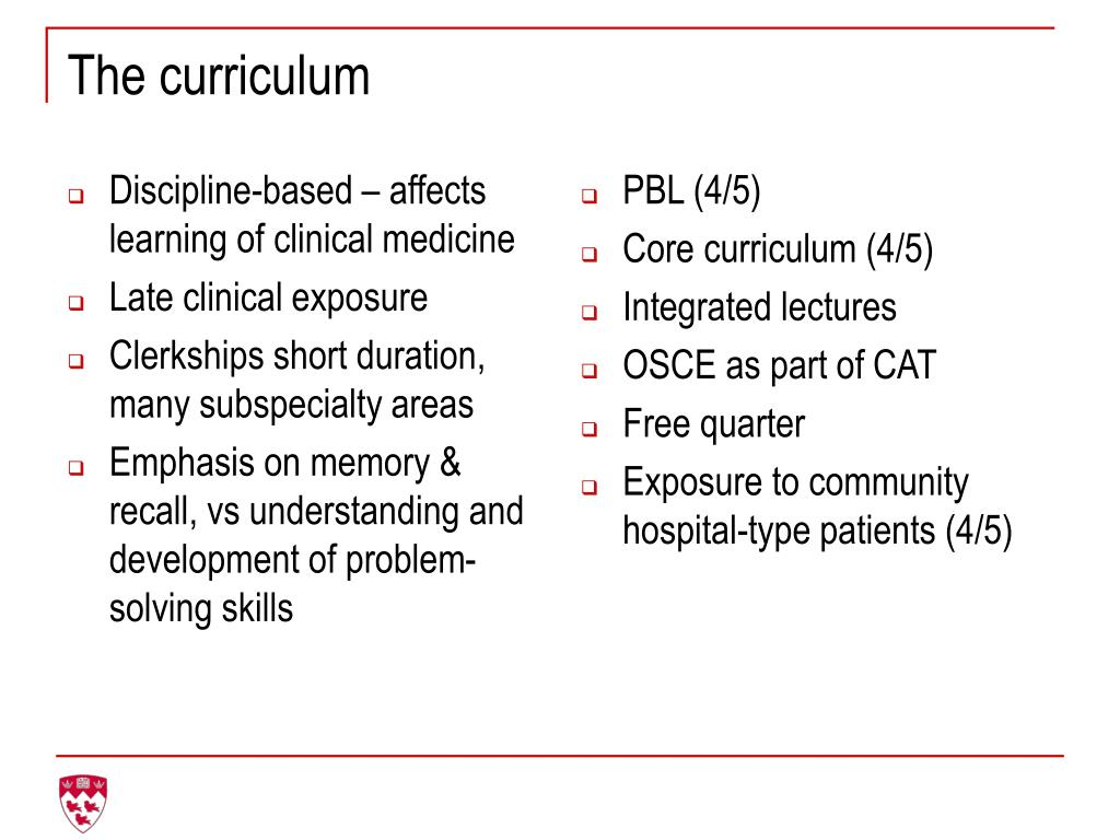 Discipline-based – affects learning of clinical medicine