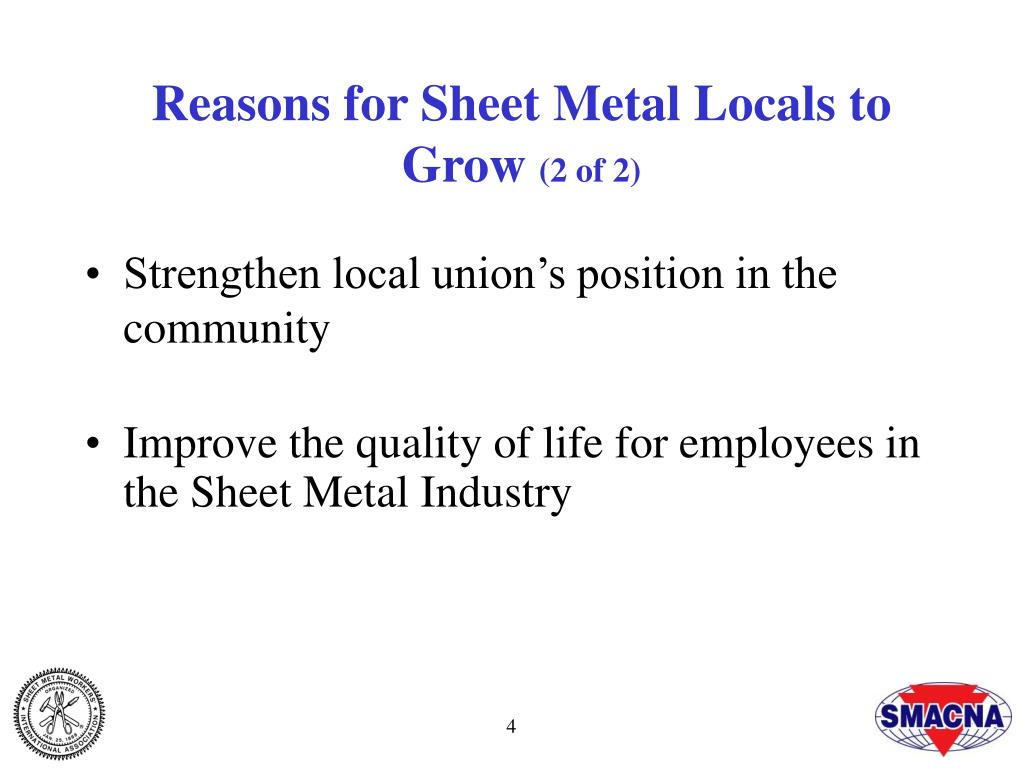 Reasons for Sheet Metal Locals to