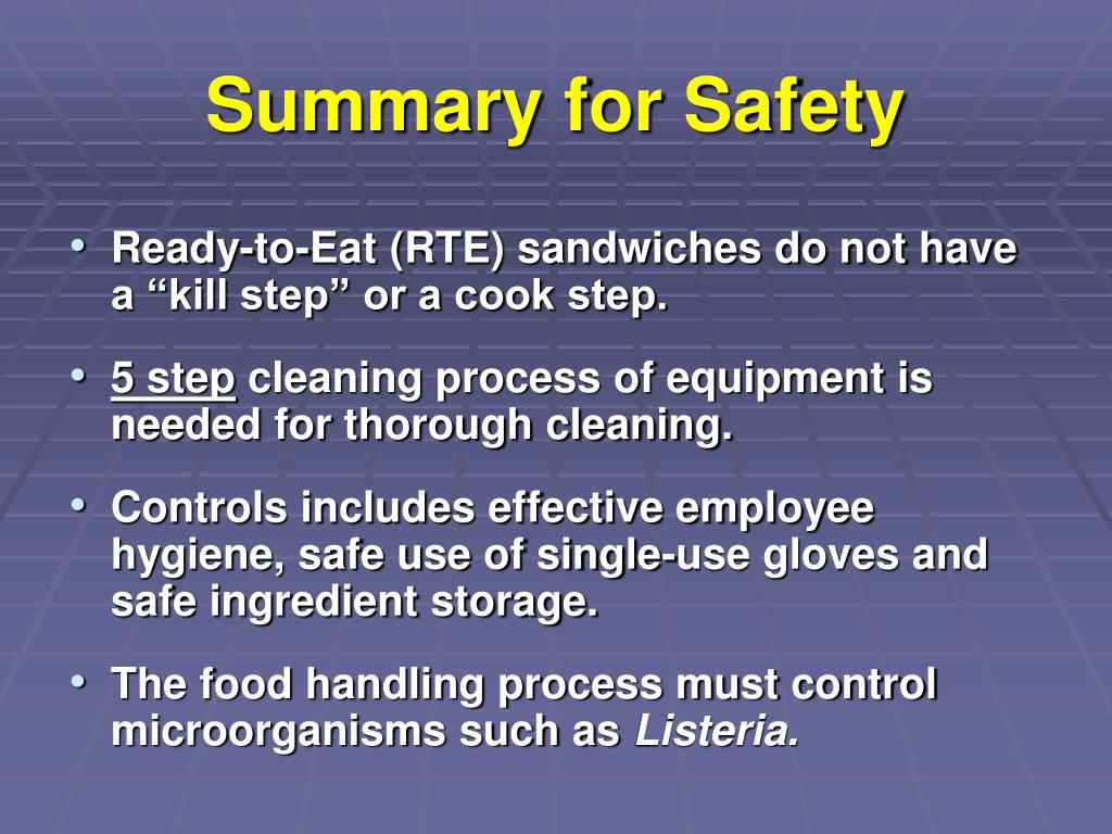 Summary for Safety