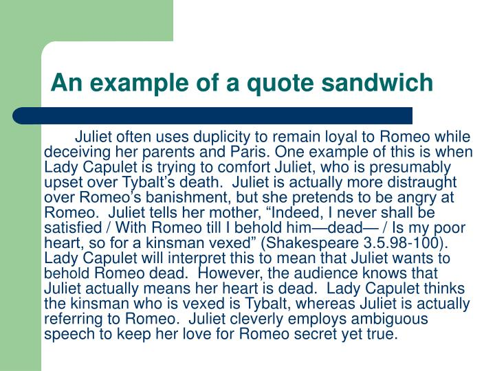 An example of a quote sandwich
