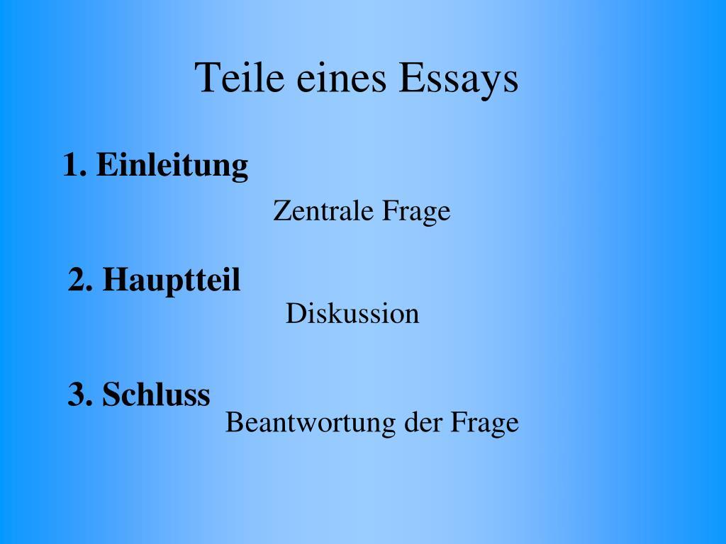 Teile eines Essays