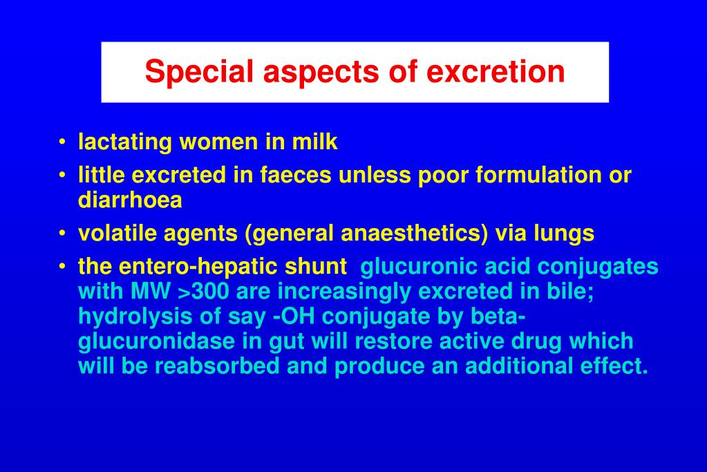 Special aspects of excretion