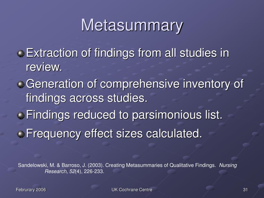 Analysing metasynthesis
