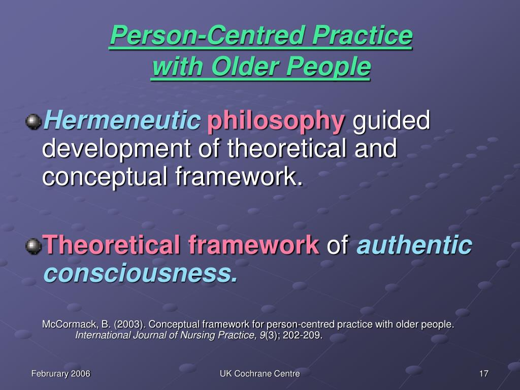 """person centered philosophy reflection Philosophical reflections on selfhood and embodiment  [12] pia kontos, """" embodied selfhood in alzheimer's disease: rethinking person-centred care,""""."""