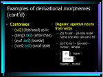 examples of derivational morphemes cont d