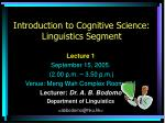 introduction to cognitive science linguistics segment