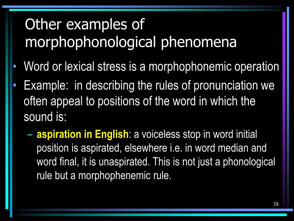 Other examples of morphophonological phenomena