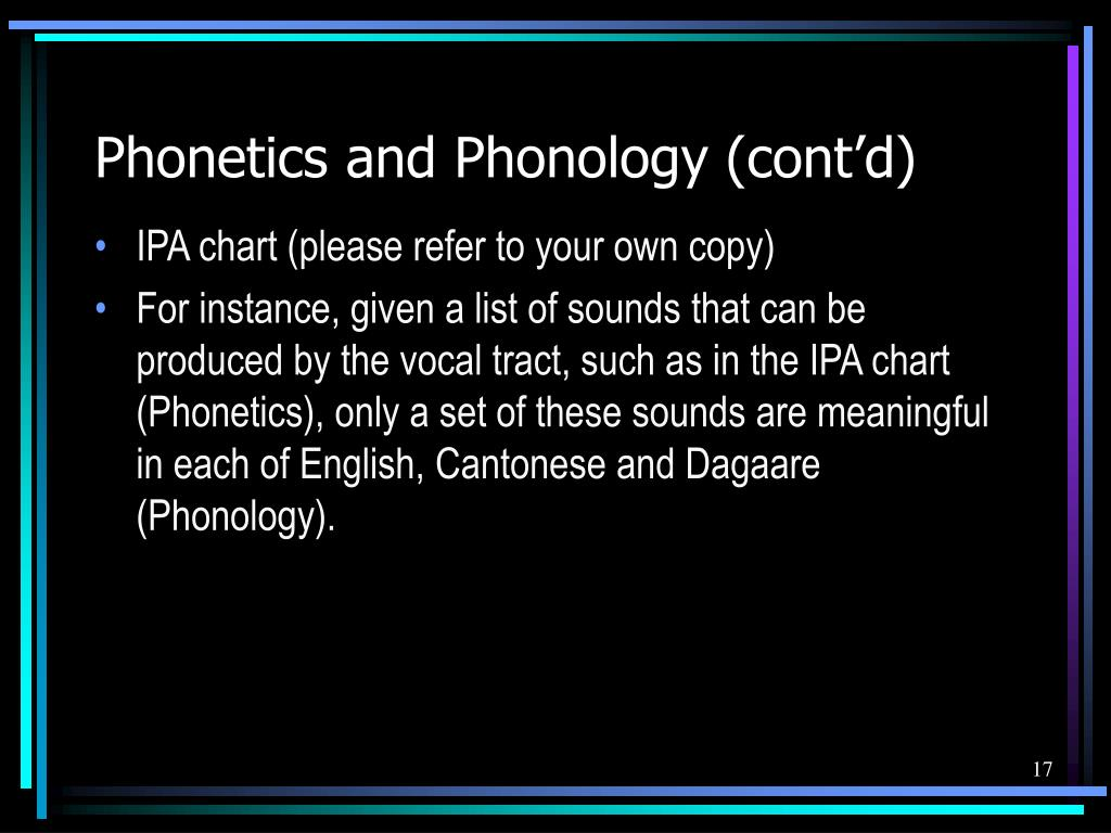 Phonetics and Phonology (cont'd)