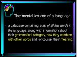 the mental lexicon of a language