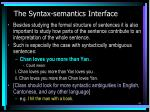 the syntax semantics interface