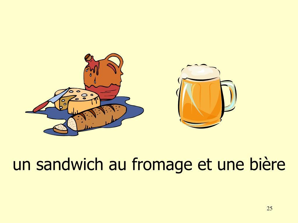 un sandwich au fromage et une bi
