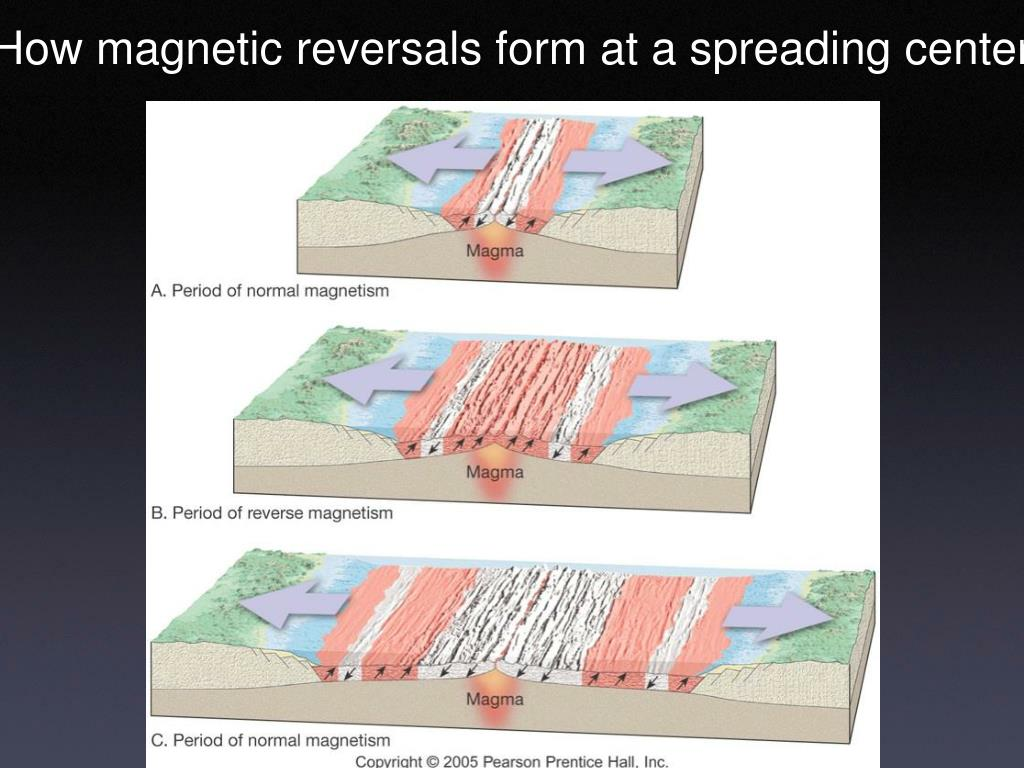 How magnetic reversals form at a spreading center