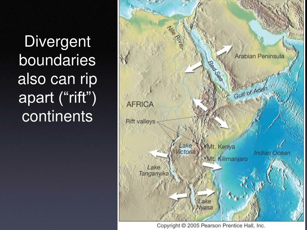 "Divergent boundaries also can rip apart (""rift"") continents"