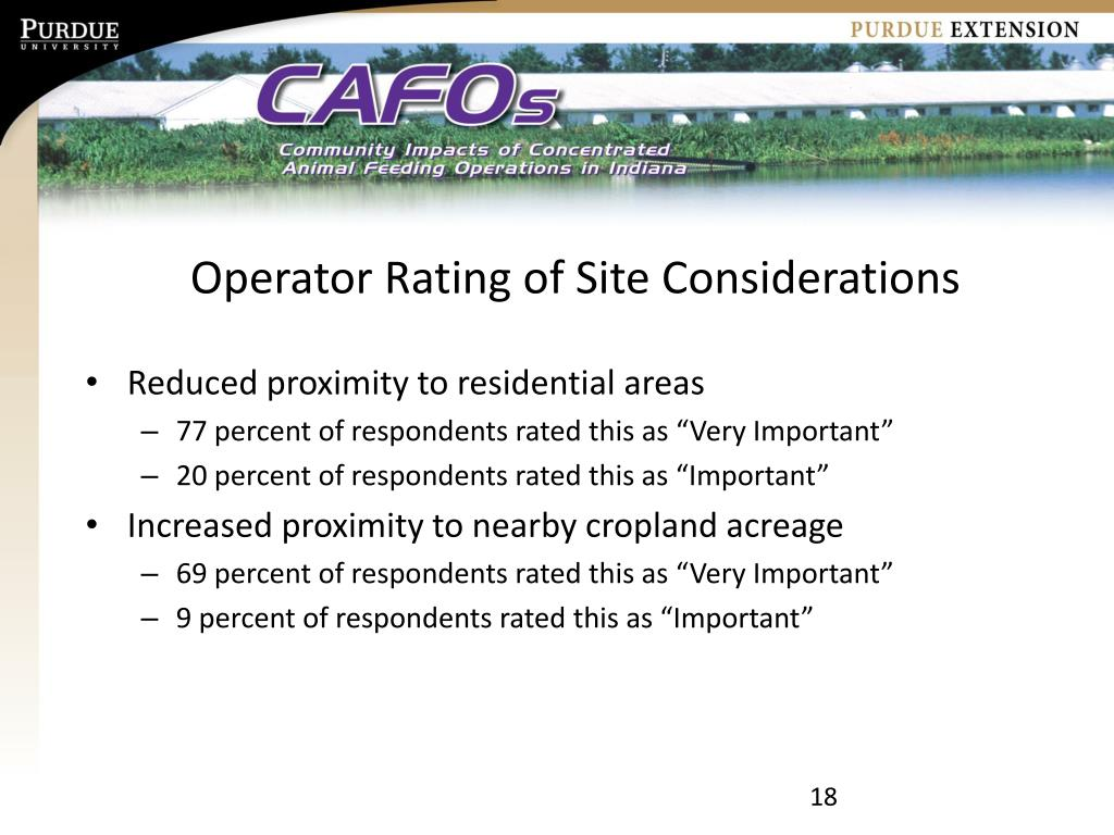 Operator Rating of Site Considerations