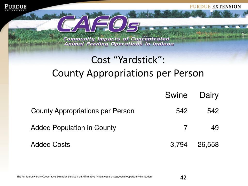 """Cost """"Yardstick"""":"""