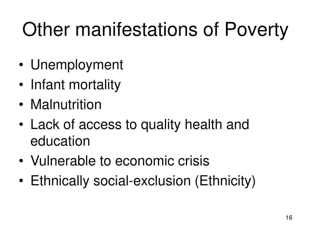 Other manifestations of Poverty