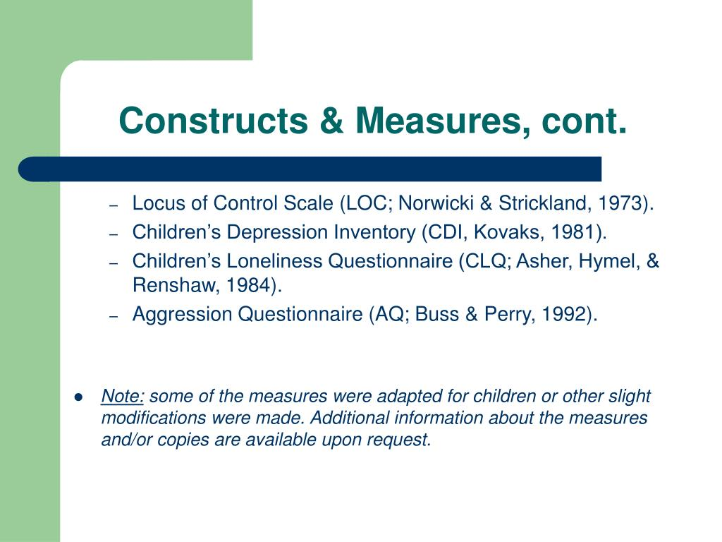 Constructs & Measures, cont.