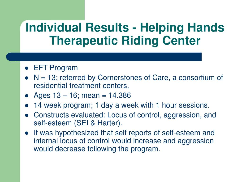 Individual Results - Helping Hands Therapeutic Riding Center