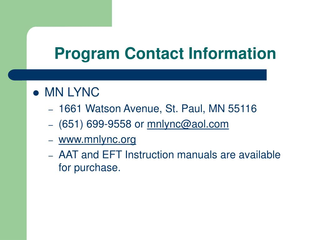 Program Contact Information