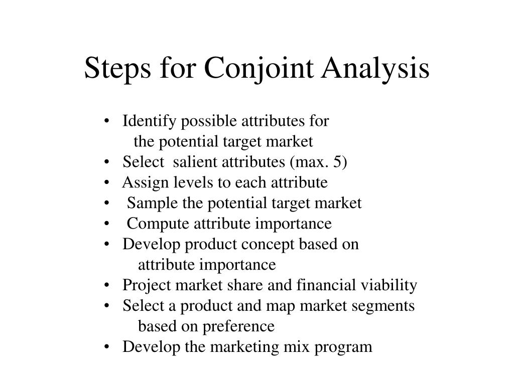 Steps for Conjoint Analysis
