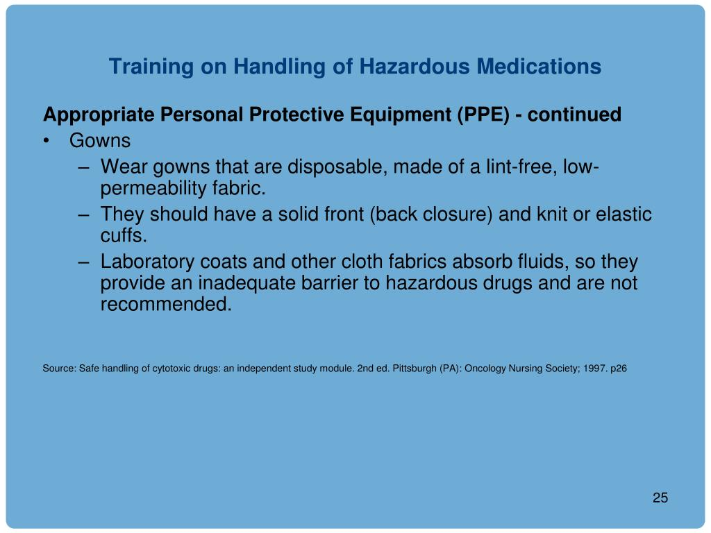 Training on Handling of Hazardous Medications